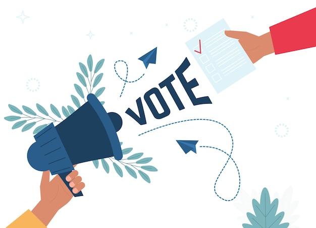 Bulletin de vote met la main