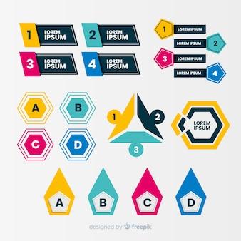 Bulletins infographiques design plat