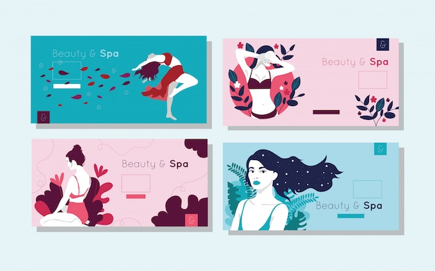 Bundle de cartes de beauté et spa avec des figures de femme