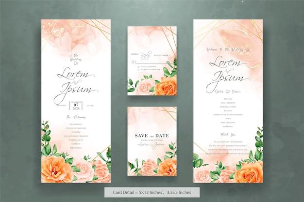 Bundle de cartes d'invitation de mariage élégant avec floral aquarelle dessiné à la main