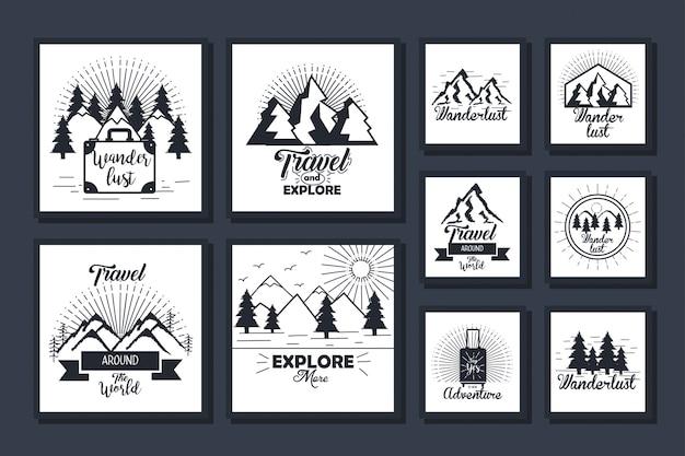 Bundle de cartes de voyage et d'exploration