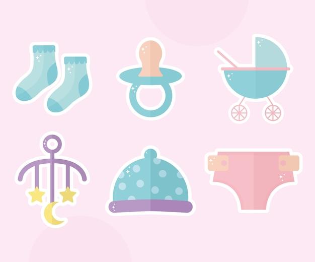 Bundle de conception d'illustration d'icônes de douche de bébé