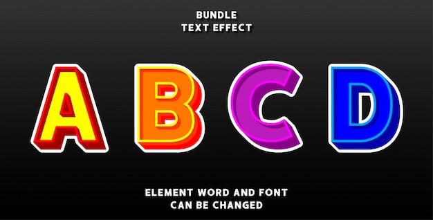 Bundle Effet De Texte Modifiable Vecteur Premium