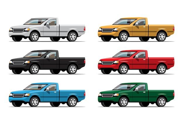 Bundle ensemble de camionnette multicolore sur fond blanc