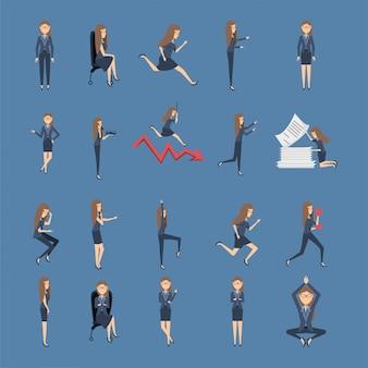 Bundle de femmes d'affaires avec des icônes