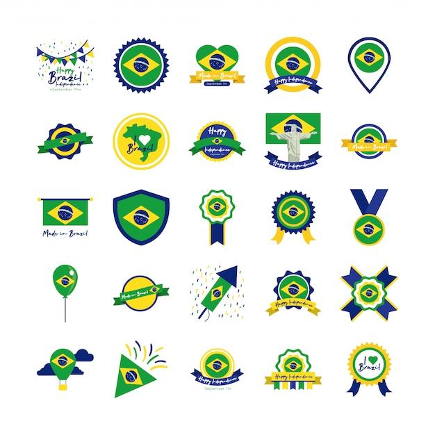Bundle d'icônes de la fête de l'indépendance du brésil