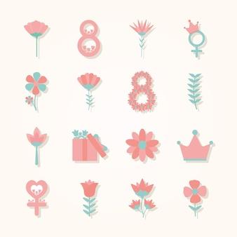Bundle d'icônes de la journée de la femme sur fond rose clair