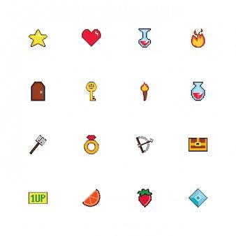 Bundle d'icônes de style pixelisées 8 bits