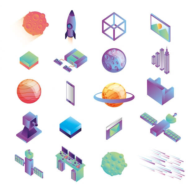 Bundle d'icônes de la technologie de réalité virtuelle