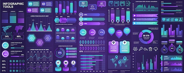 Bundle infographie ui, ux, éléments de kit avec des graphiques, des diagrammes, un flux de travail, un organigramme, une chronologie, des statistiques en ligne, un modèle d'éléments marketing icônes. ensemble d'infographie.