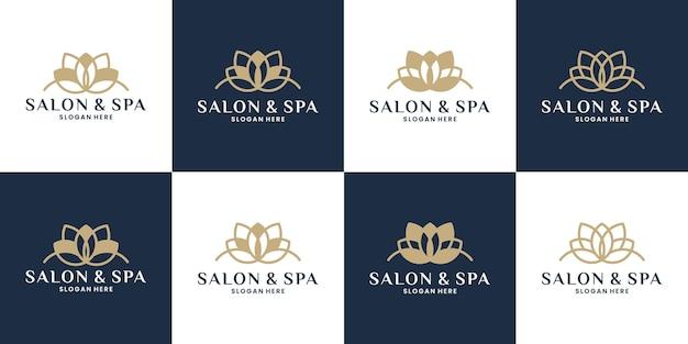 Bundle luxe lotus logo design vecteur pour spa