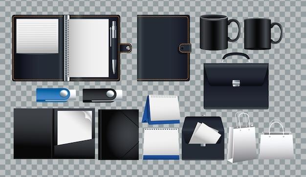 Bundle de maquette définie des icônes dans la conception d'illustration vectorielle fond quadrillé