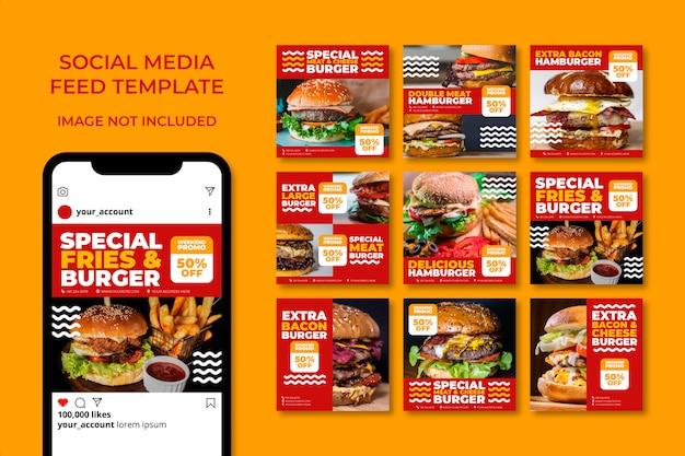 Bundle de modèle de bannière de médias sociaux délicieux burger alimentaire
