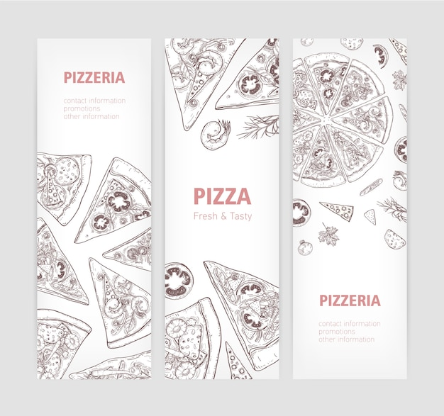 Bundle de modèles de bannières web verticales avec une délicieuse pizza classique dessinée à la main avec des lignes de contour