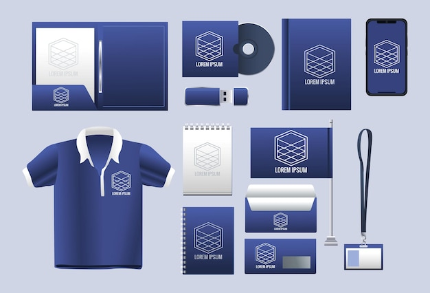 Bundle of branding set icônes illustration