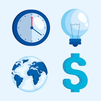 Bundle of business set icons vector illustration design