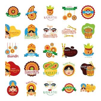 Bundle Of Happy Navratri Célébration Mis Icônes Illustration Design Vecteur Premium