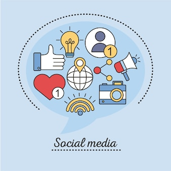 Bundle of social media set line and fill style icons in blue illustration design