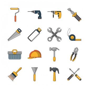 Bundle d'outils de construction mis des icônes