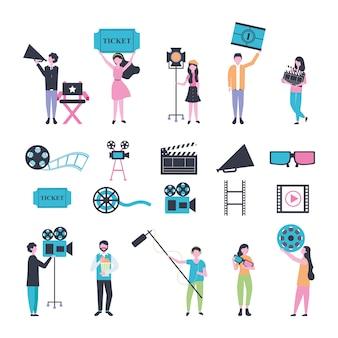 Bundle de personnes et icônes de divertissement de cinéma