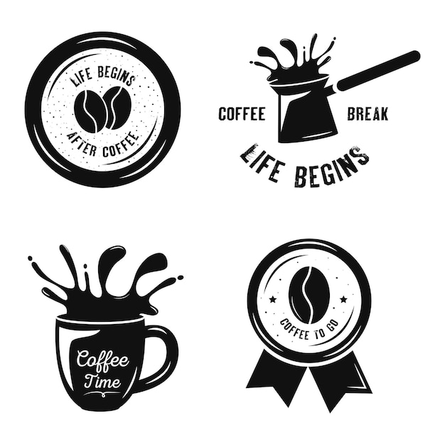 Bundle de quatre boissons au café set design illustration icônes