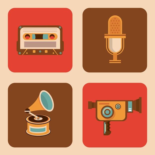 Bundle de quatre icônes de jeu rétro
