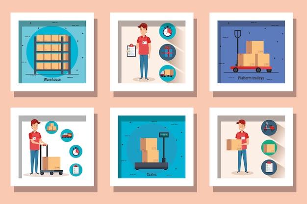 Bundle de service de livraison avec des travailleurs et des icônes