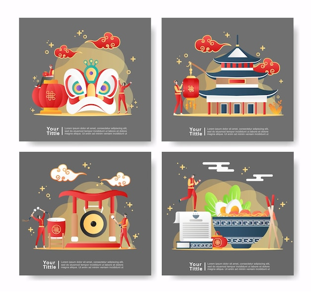Bundle set illustration chinois du nouvel an