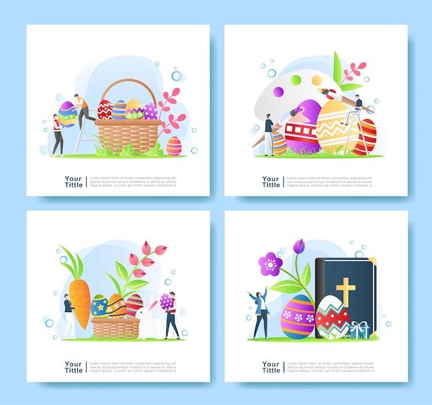 Bundle set illustration de joyeuses pâques