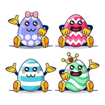 Bundle set illustration of cute easter egg mascot