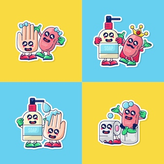 Bundle set illustration of hand sanitation icon stickers