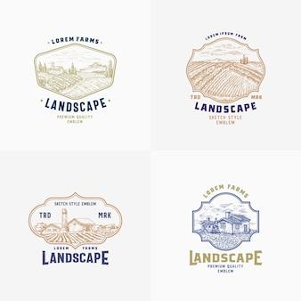 Bundle de signes, insignes ou modèles de logo de ferme rurale abstraite vectorielle