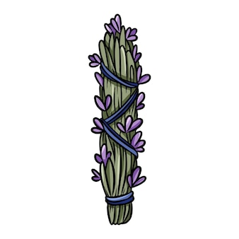 Bundle de taches de lavande attaché avec une icône isolée de doodle dessinés à la main. image vectorielle stock d'herbes. élément de glyphe de contour