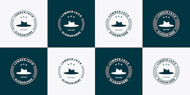 Bundle woodman bûcheron logo design vintage