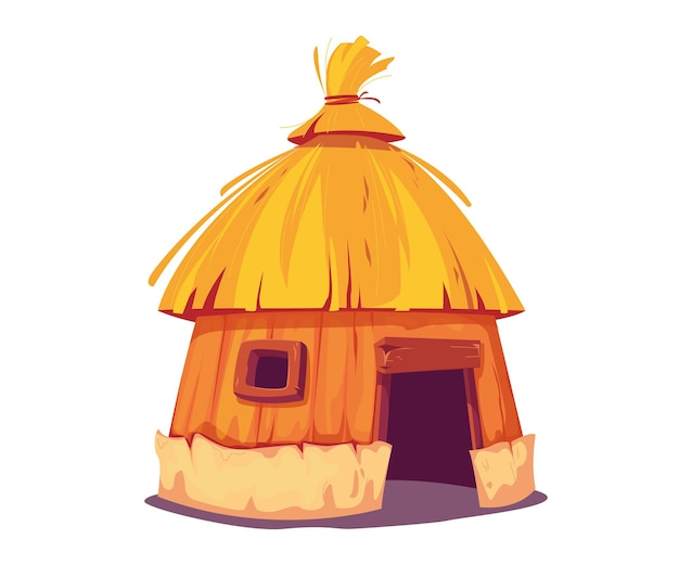 Bungalow au toit de chaume amusant. la cabane est une maison traditionnelle pour les habitants des îles et les tribus africaines. illustration vectorielle en style cartoon. clipart isolé sur fond blanc