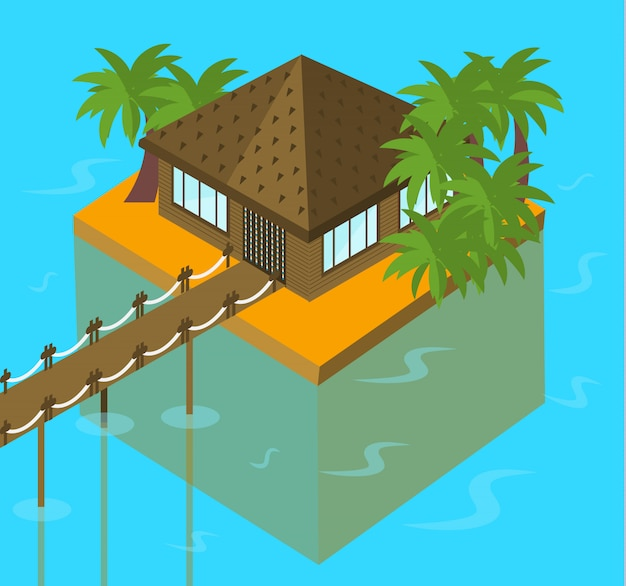 Bungalow océan avec des palmiers