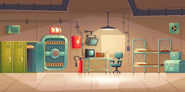 Bunker souterrain salle de contrôle de l'abri anti-bombes vide
