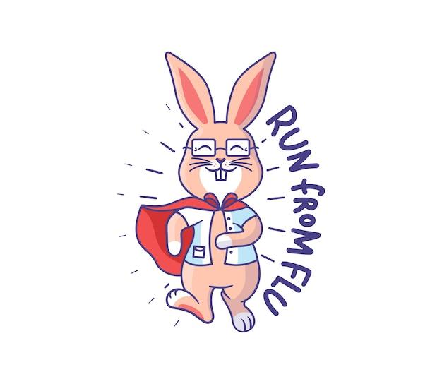 Bunny est un médecin - un super héros. lapin caricatural avec une phrase - fuyez la grippe.
