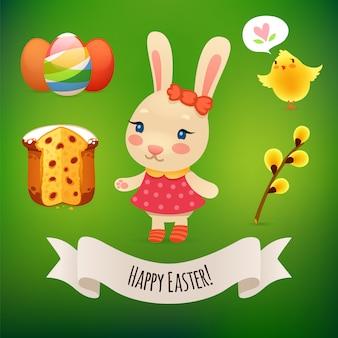 Bunny girl et symboles de pâques
