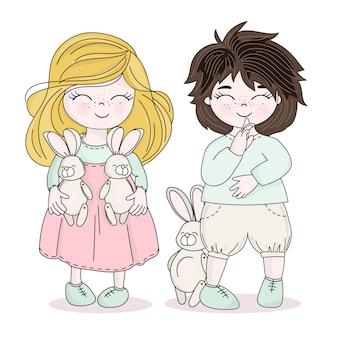 Bunny kids holy easter holiday vector illustration set