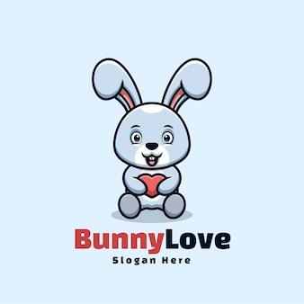 Bunny love cartoon kawaii logo mignon