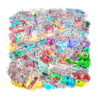 Burano veneto italie illustration aquarelle croquis dessinés à la main