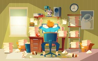 Bureau à domicile dans le chaos avec freelancer - concept de délai, approche de l'heure de fin.