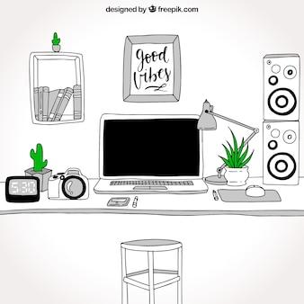 Bureau de bureau moderne dessiné à la main