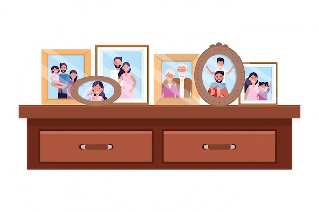 Bureau avec cadres photo