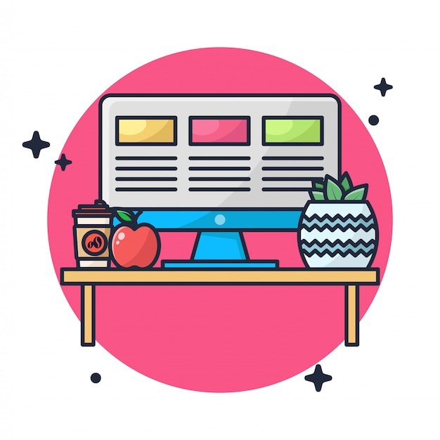 Bureau, café et pomme avec illustration de plante de cactus