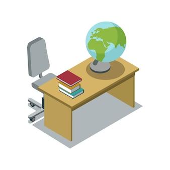Bureau de la classe avec illustration isométrique de manuel