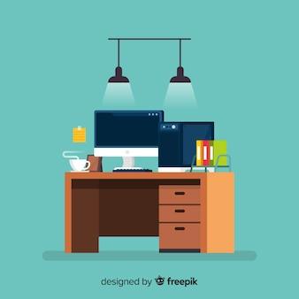 Bureau coloré avec un design plat