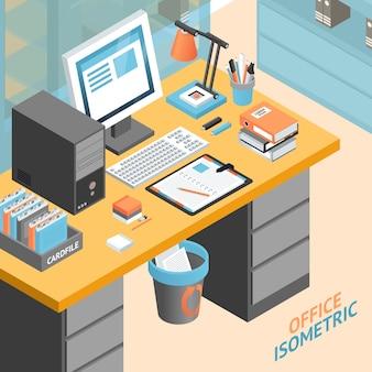 Bureau concept isométrique design illustration