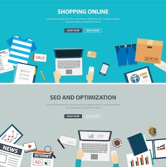 Bureau de concept de magasinage en ligne avec design plat d'optimisation de référencement